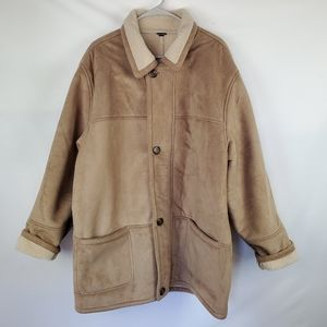 Utex Design faux suede sherpa lined coat